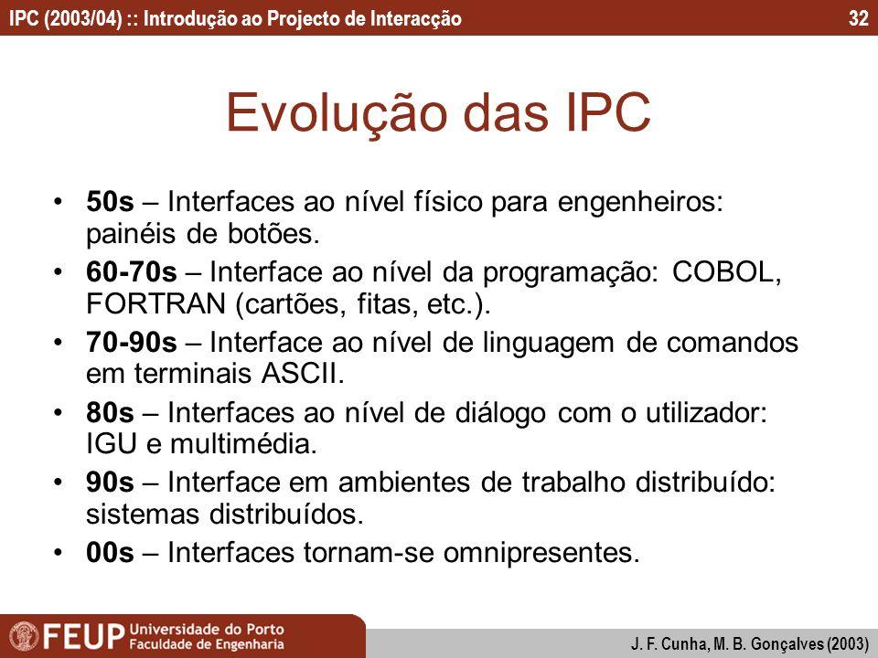 Evolução das IPC 50s – Interfaces ao nível físico para engenheiros: painéis de botões.