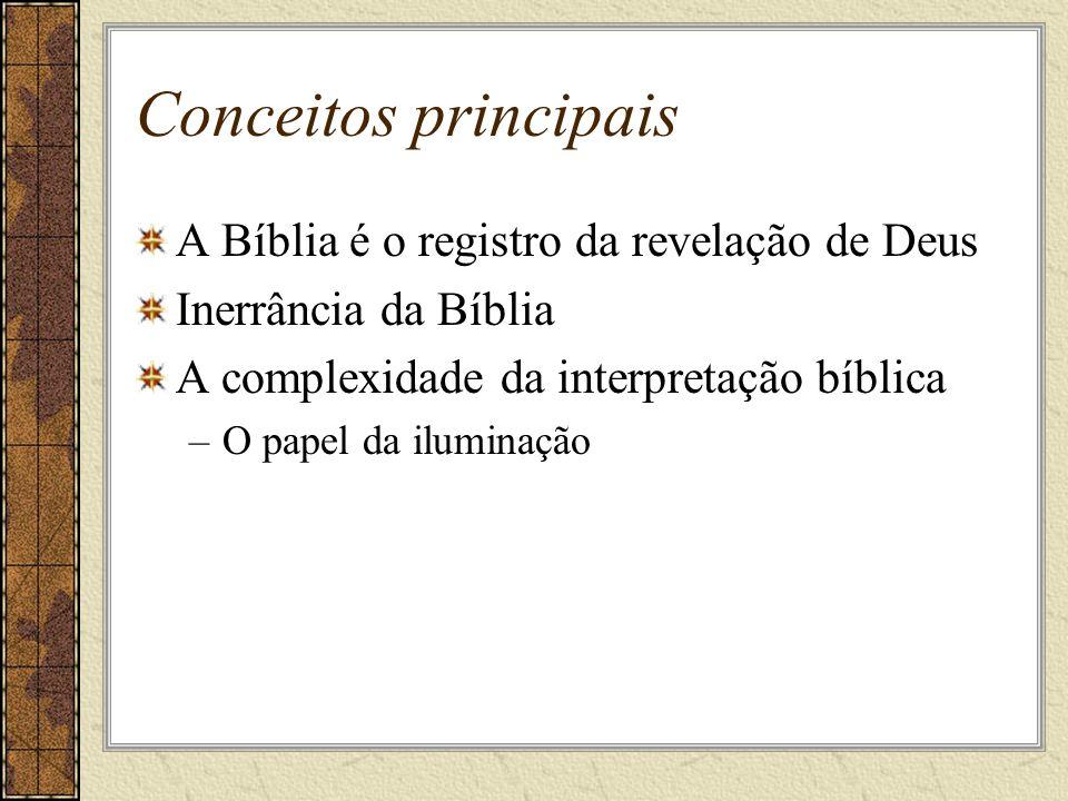 Conceitos principais A Bíblia é o registro da revelação de Deus