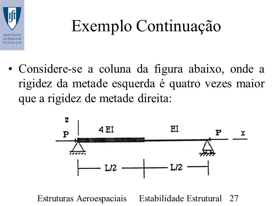 Exemplo ContinuaçãoConsidere-se a coluna da figura abaixo, onde a rigidez da metade esquerda é quatro vezes maior que a rigidez de metade direita: