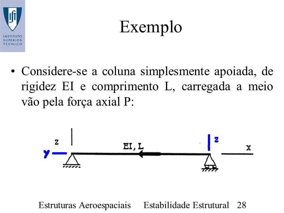 Exemplo Considere-se a coluna simplesmente apoiada, de rigidez EI e comprimento L, carregada a meio vão pela força axial P: