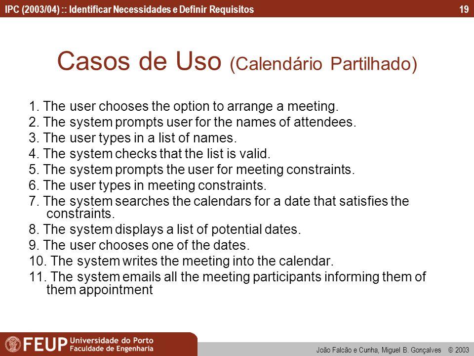 Casos de Uso (Calendário Partilhado)