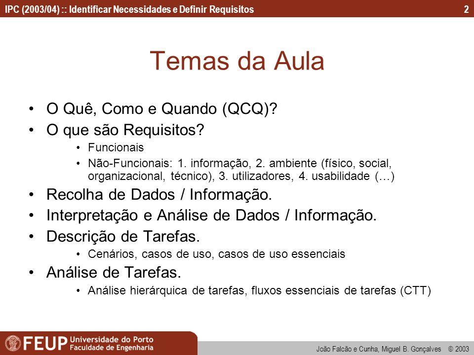 Temas da Aula O Quê, Como e Quando (QCQ) O que são Requisitos