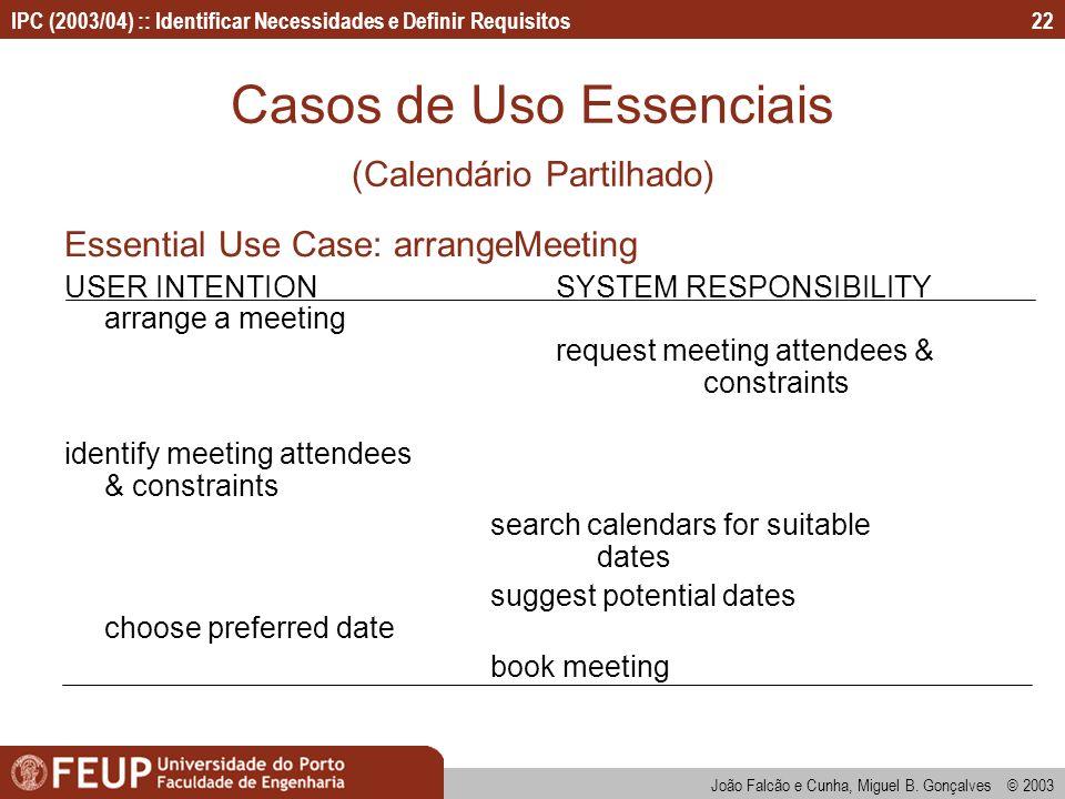 Casos de Uso Essenciais (Calendário Partilhado)