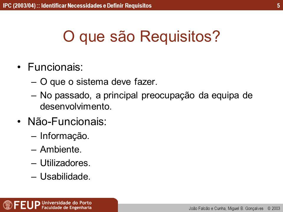 O que são Requisitos Funcionais: Não-Funcionais: