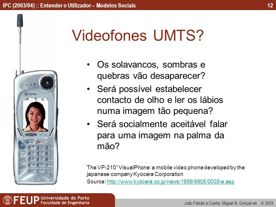 Videofones UMTS Os solavancos, sombras e quebras vão desaparecer