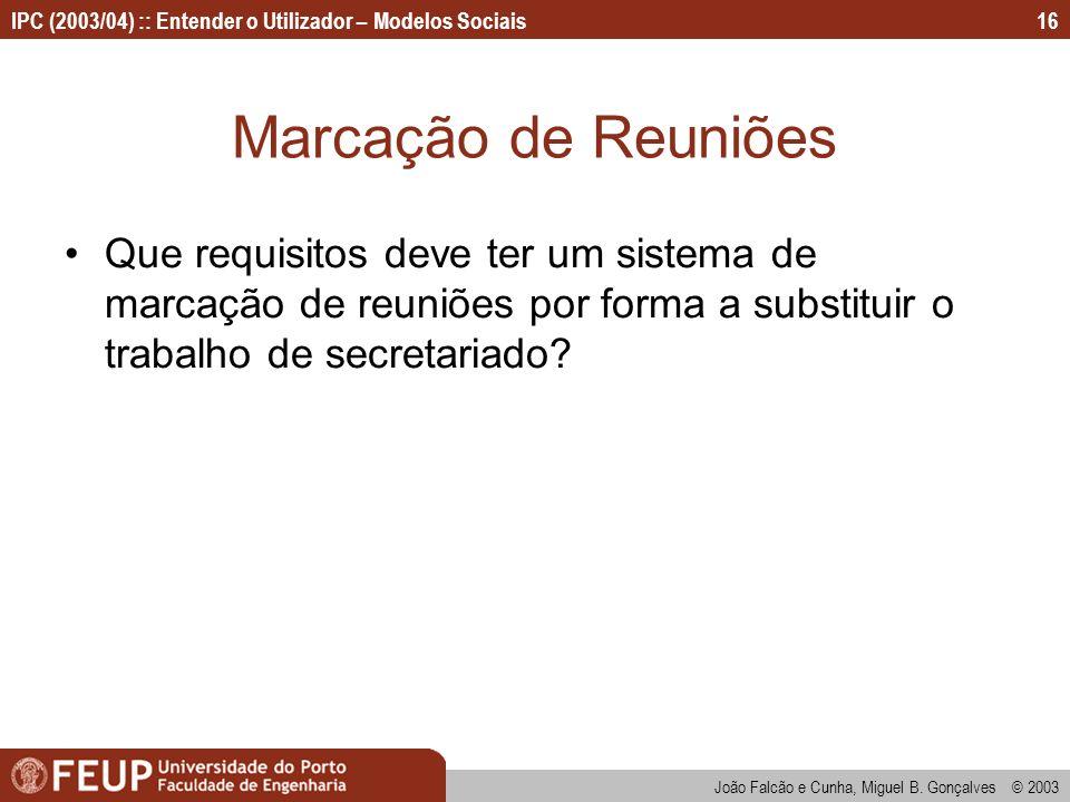 Marcação de Reuniões Que requisitos deve ter um sistema de marcação de reuniões por forma a substituir o trabalho de secretariado