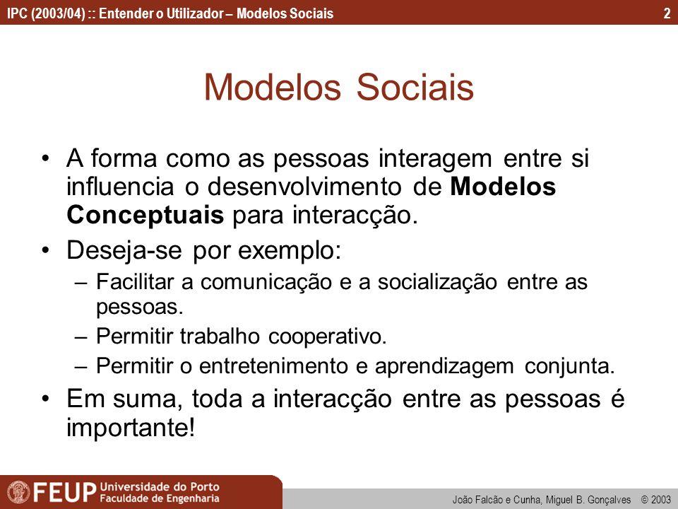 Modelos Sociais A forma como as pessoas interagem entre si influencia o desenvolvimento de Modelos Conceptuais para interacção.