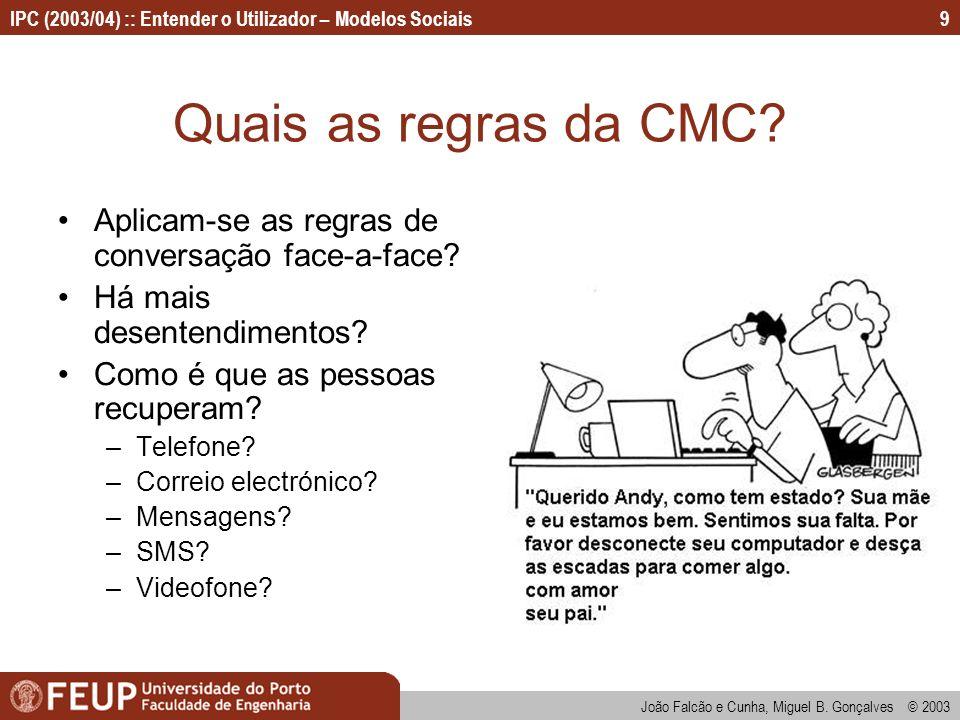 Quais as regras da CMC Aplicam-se as regras de conversação face-a-face Há mais desentendimentos