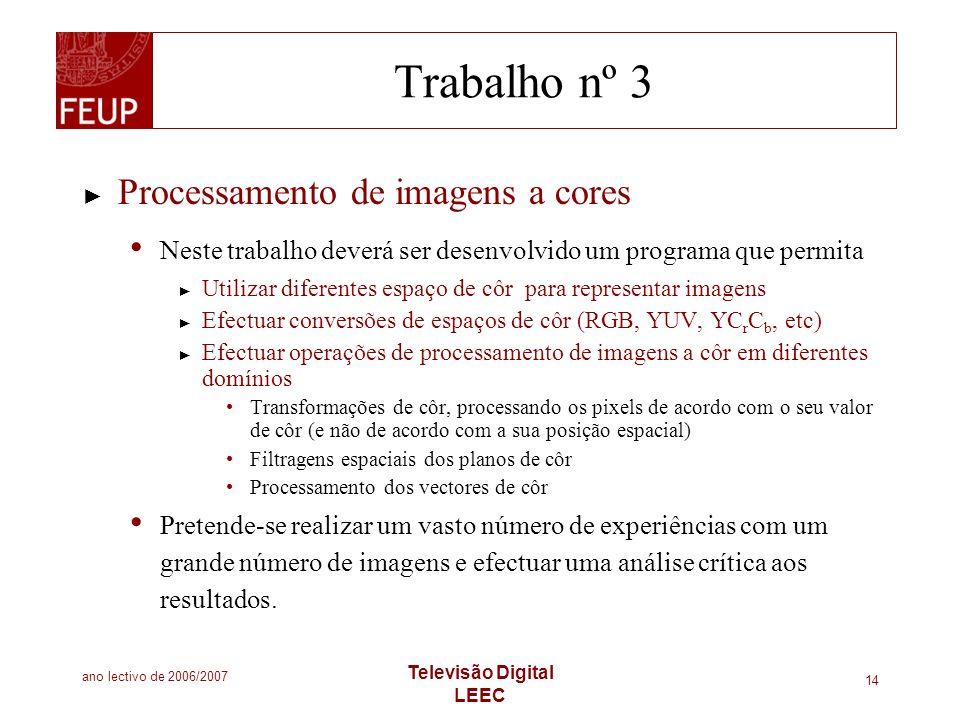 Trabalho nº 3 Processamento de imagens a cores