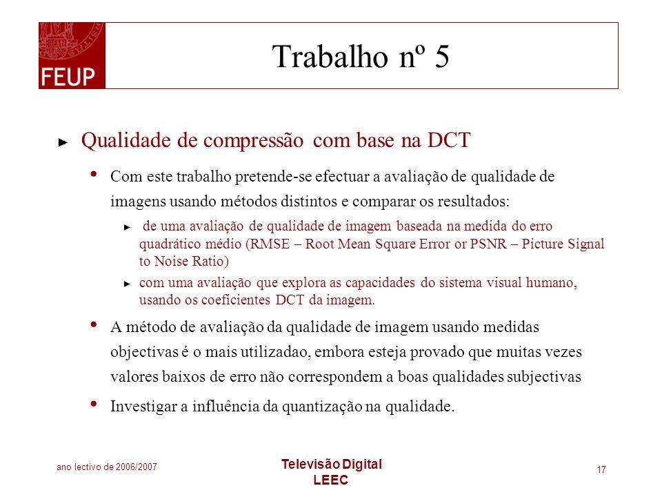 Trabalho nº 5 Qualidade de compressão com base na DCT