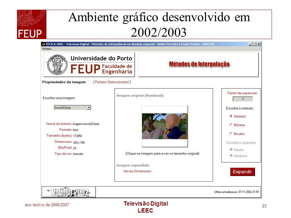 Ambiente gráfico desenvolvido em 2002/2003