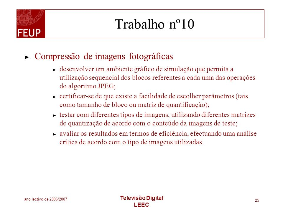 Trabalho nº10 Compressão de imagens fotográficas