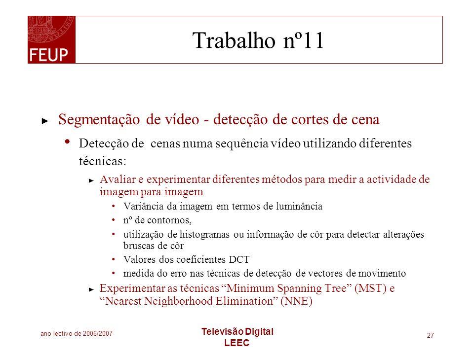Trabalho nº11 Segmentação de vídeo - detecção de cortes de cena