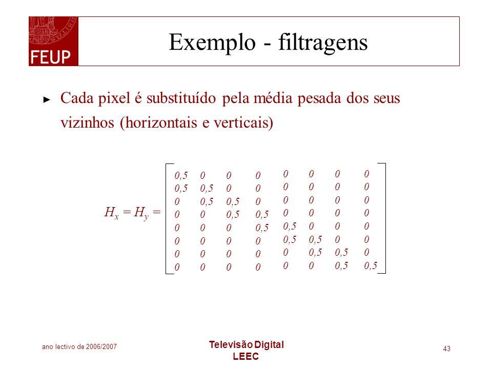 Exemplo - filtragens Cada pixel é substituído pela média pesada dos seus vizinhos (horizontais e verticais)