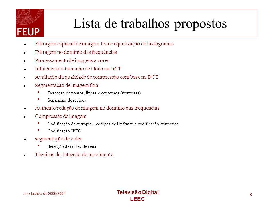 Lista de trabalhos propostos