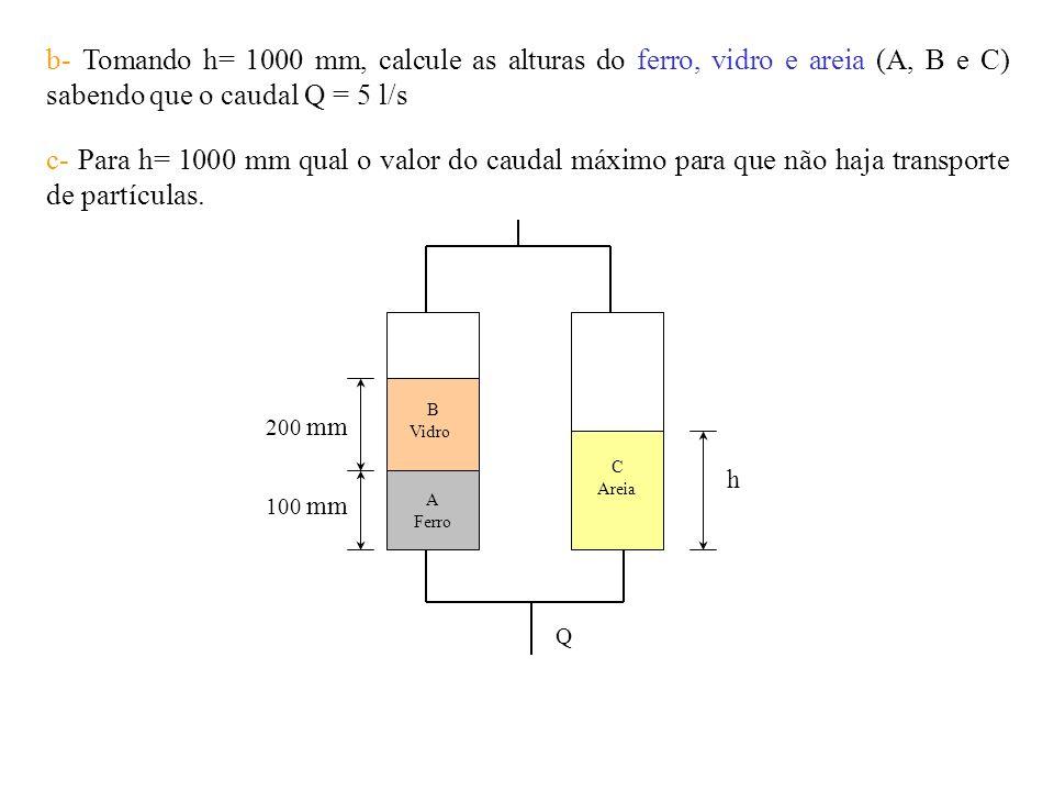 b- Tomando h= 1000 mm, calcule as alturas do ferro, vidro e areia (A, B e C) sabendo que o caudal Q = 5 l/s