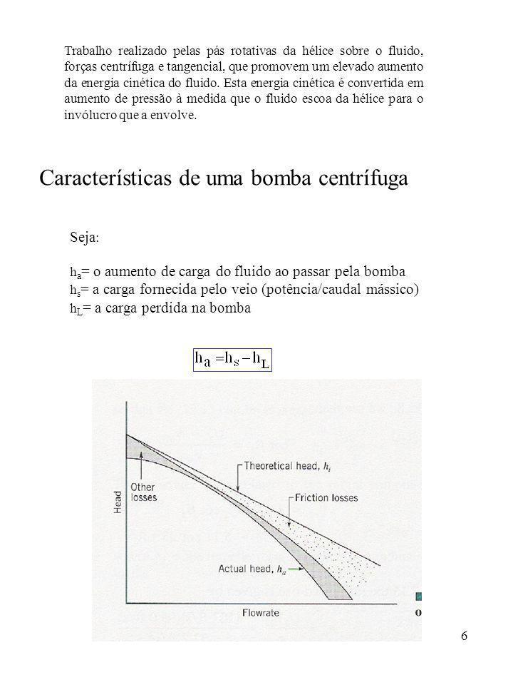 Características de uma bomba centrífuga