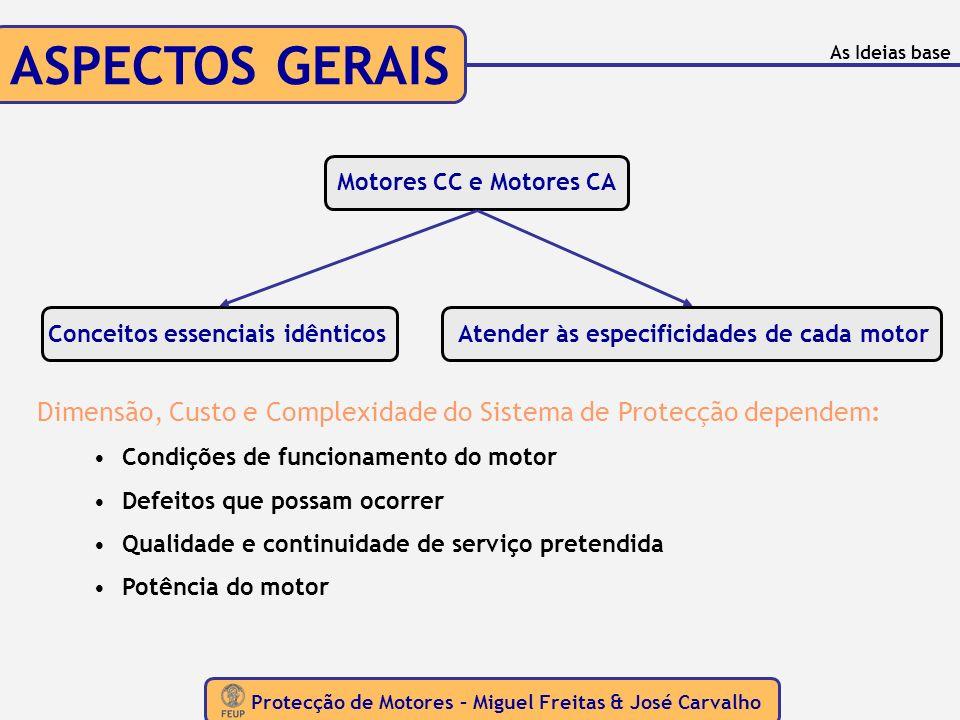 ASPECTOS GERAIS As Ideias base. Motores CC e Motores CA. Conceitos essenciais idênticos. Atender às especificidades de cada motor.