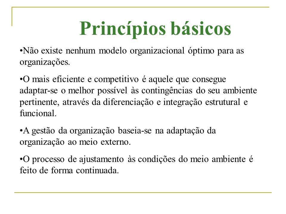Princípios básicos Não existe nenhum modelo organizacional óptimo para as organizações.