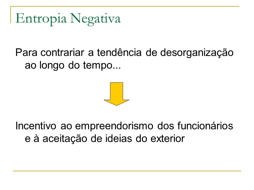 Entropia Negativa Para contrariar a tendência de desorganização ao longo do tempo...