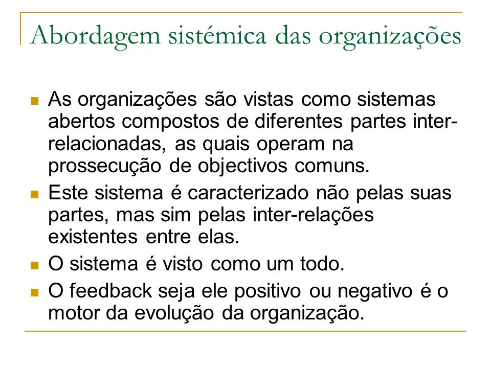 Abordagem sistémica das organizações