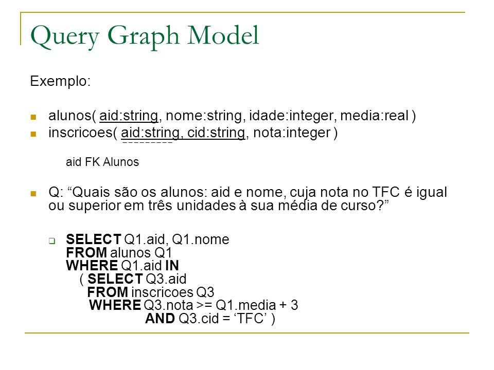 Query Graph Model Exemplo: