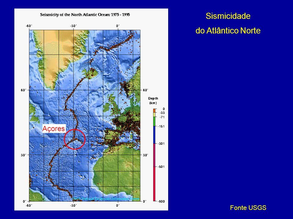 Sismicidade do Atlântico Norte Açores Fonte USGS