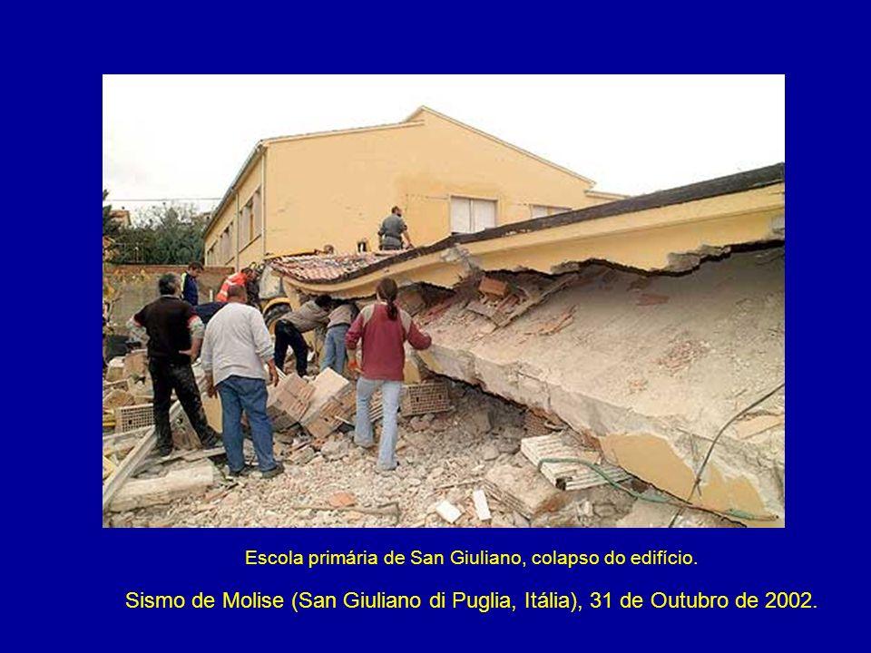 Escola primária de San Giuliano, colapso do edifício.