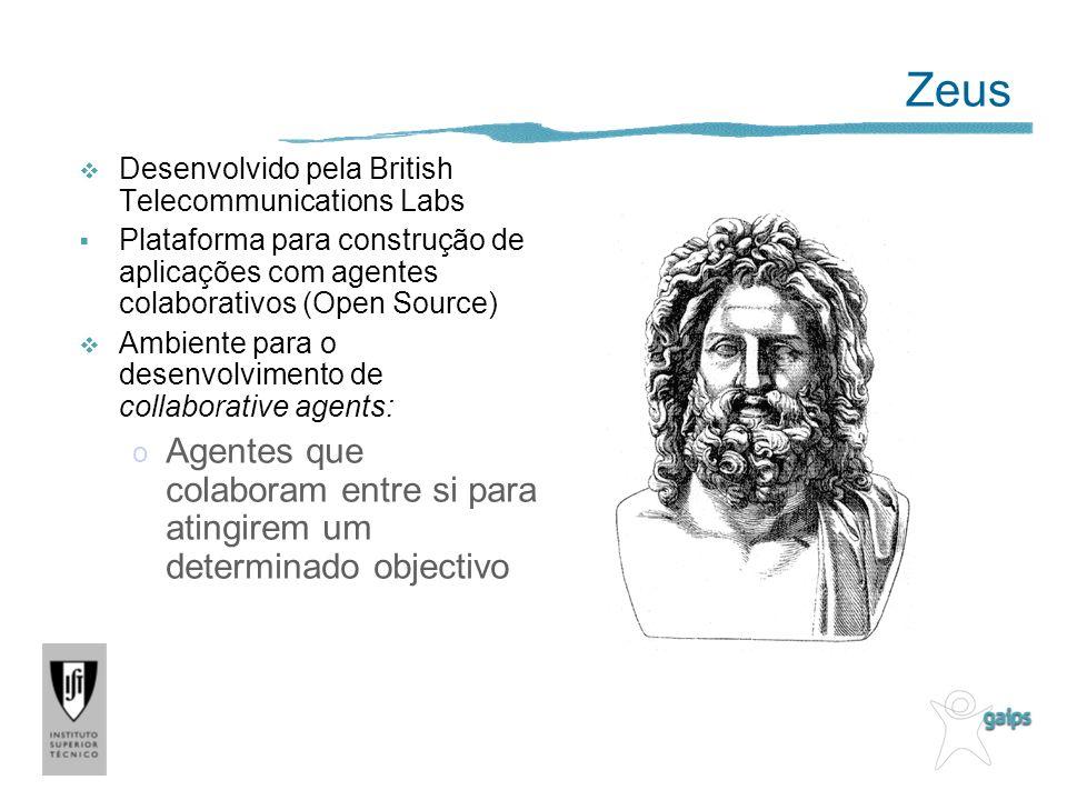 Zeus Desenvolvido pela British Telecommunications Labs. Plataforma para construção de aplicações com agentes colaborativos (Open Source)
