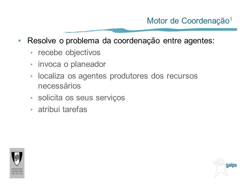 Motor de Coordenação1 Resolve o problema da coordenação entre agentes: recebe objectivos. invoca o planeador.