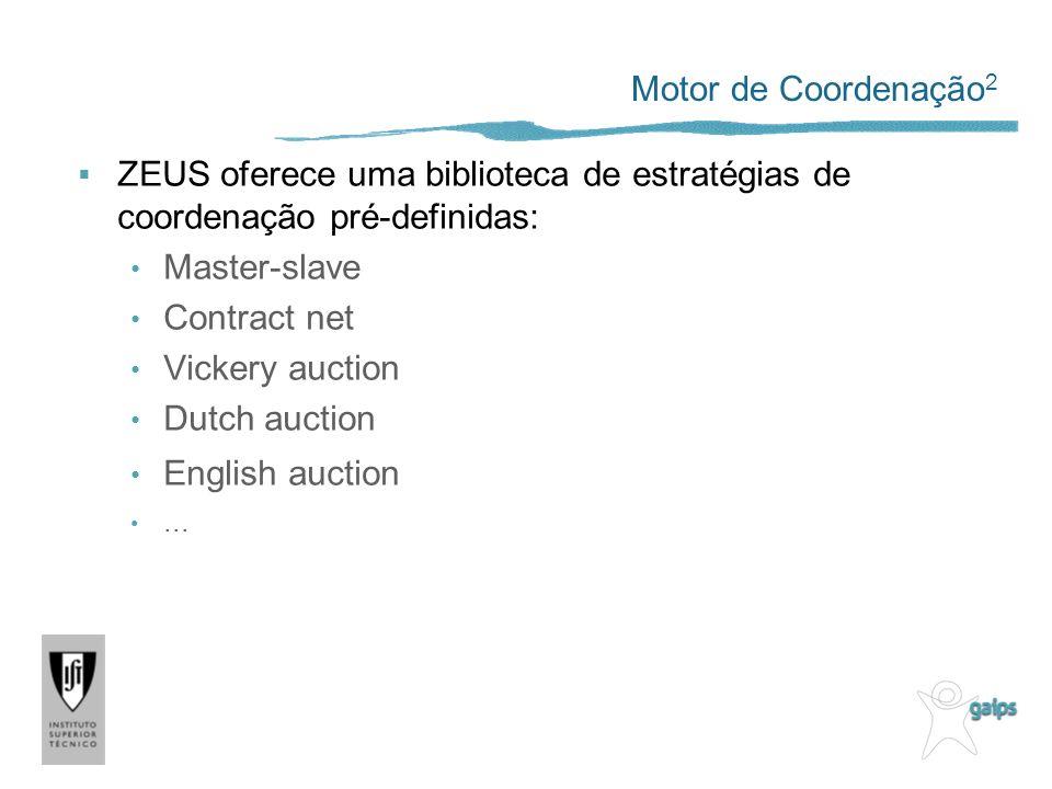 Motor de Coordenação2 ZEUS oferece uma biblioteca de estratégias de coordenação pré-definidas: Master-slave.