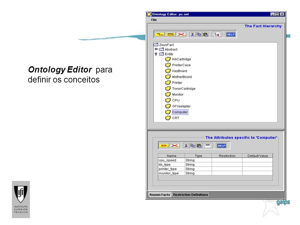 Ontology Editor para definir os conceitos