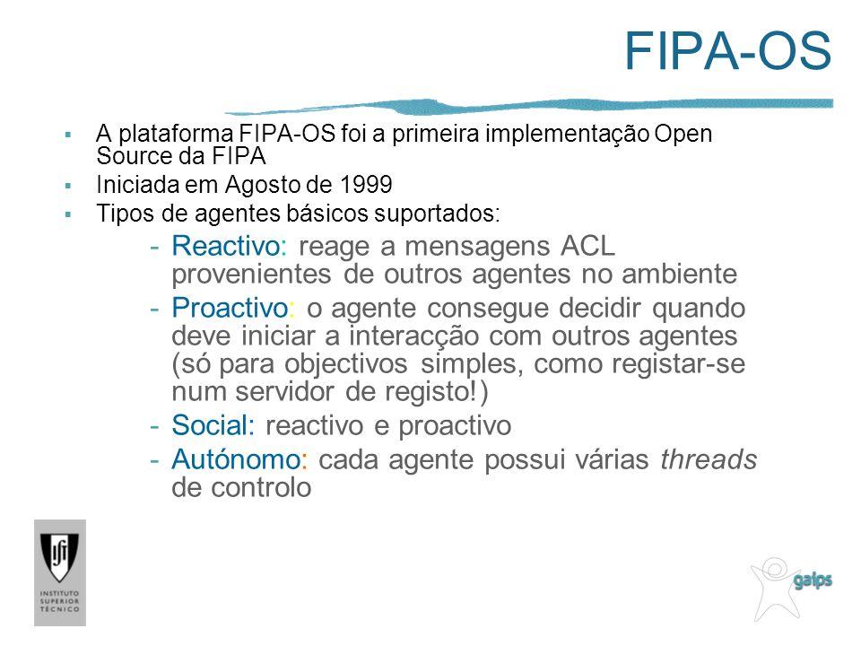 FIPA-OS A plataforma FIPA-OS foi a primeira implementação Open Source da FIPA. Iniciada em Agosto de 1999.