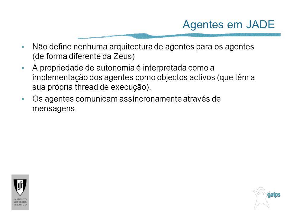 Agentes em JADE Não define nenhuma arquitectura de agentes para os agentes (de forma diferente da Zeus)