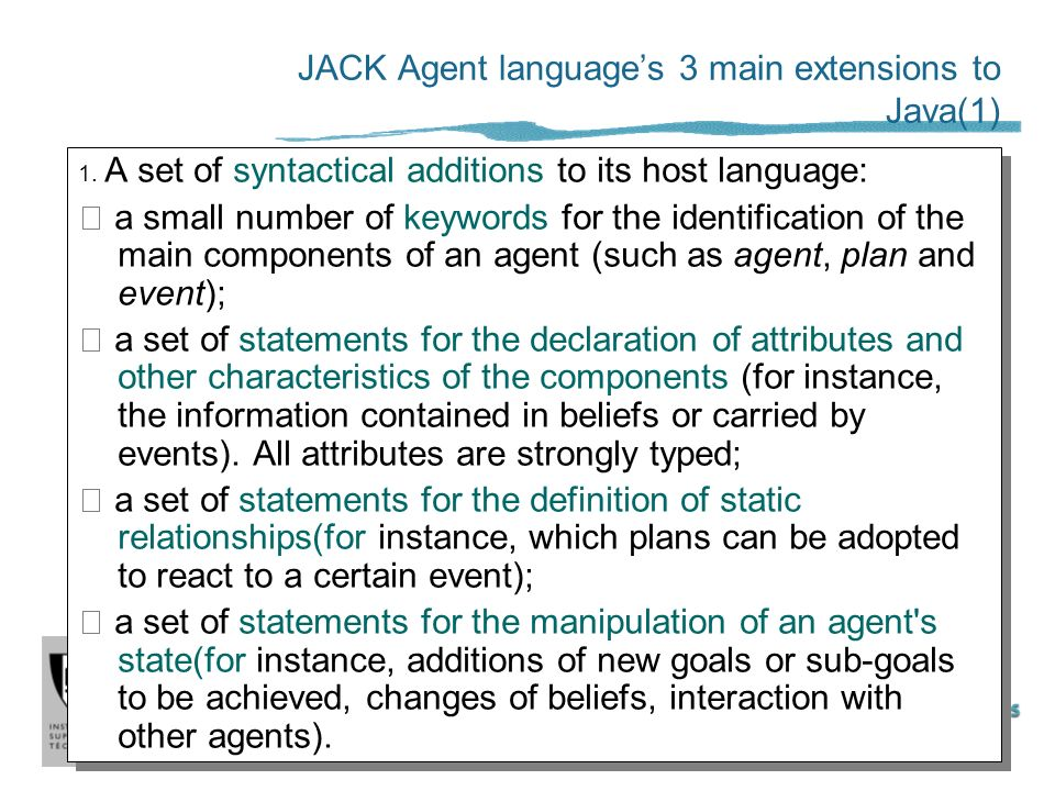 JACK Agent language's 3 main extensions to Java(1)
