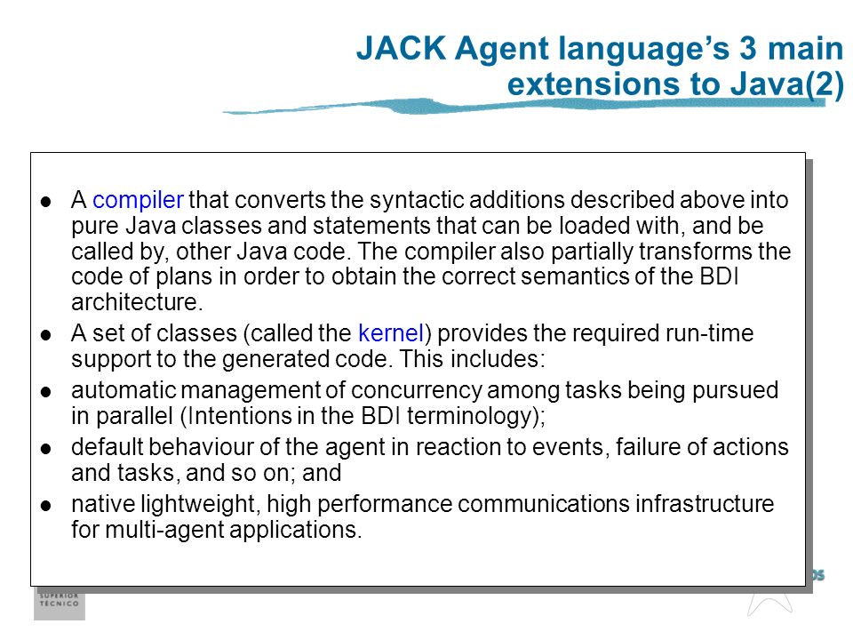 JACK Agent language's 3 main extensions to Java(2)