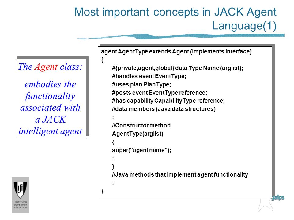 Most important concepts in JACK Agent Language(1)