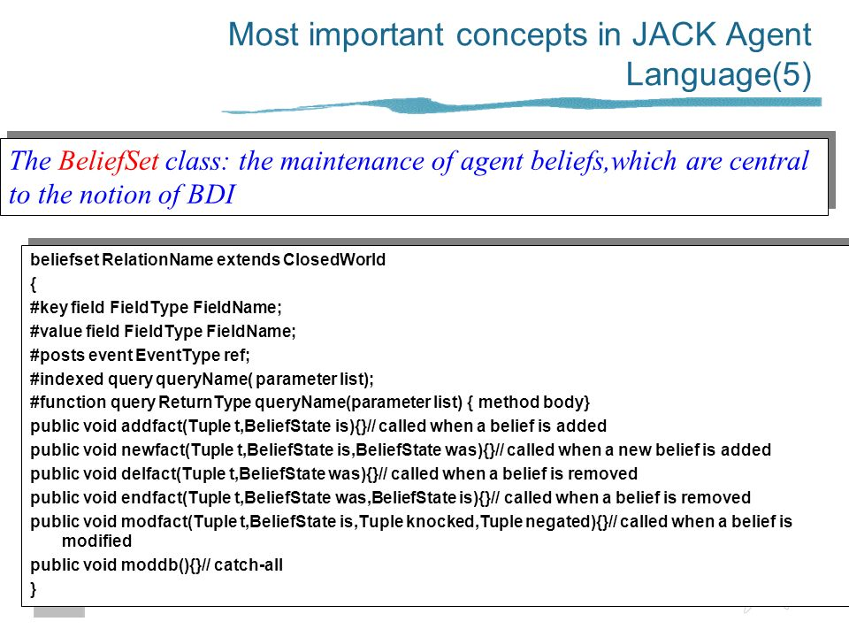 Most important concepts in JACK Agent Language(5)