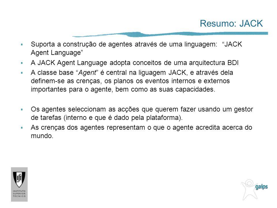 Resumo: JACK Suporta a construção de agentes através de uma linguagem: JACK Agent Language