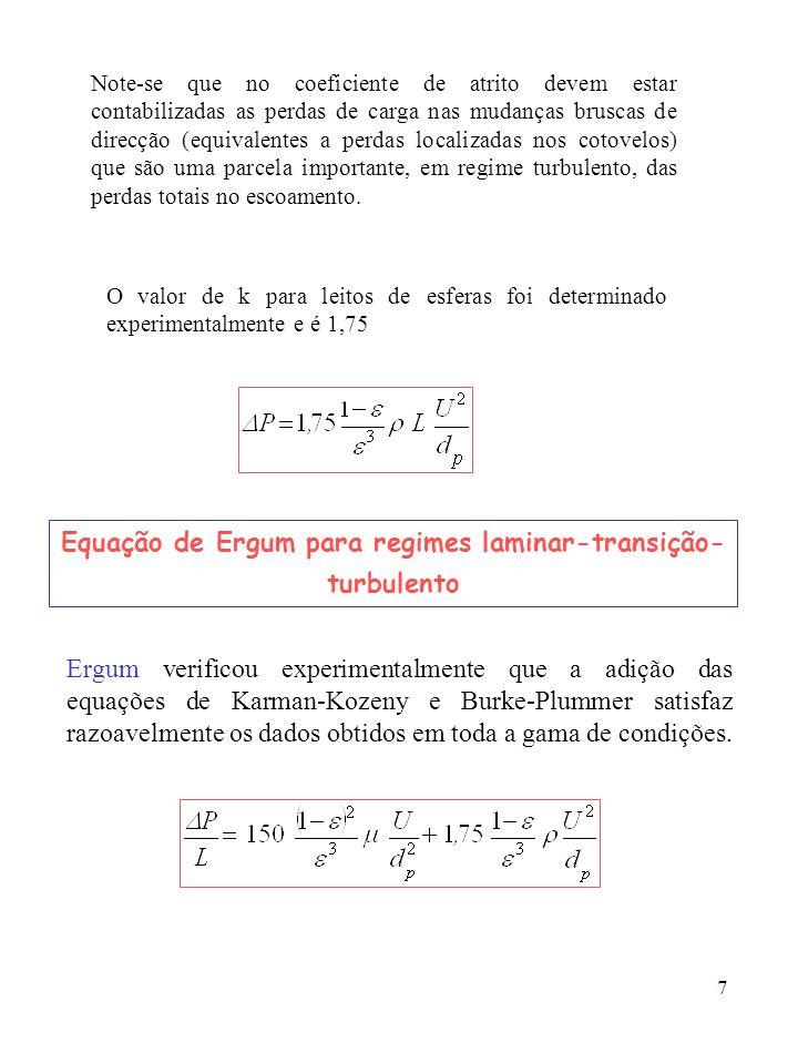 Equação de Ergum para regimes laminar-transição-turbulento
