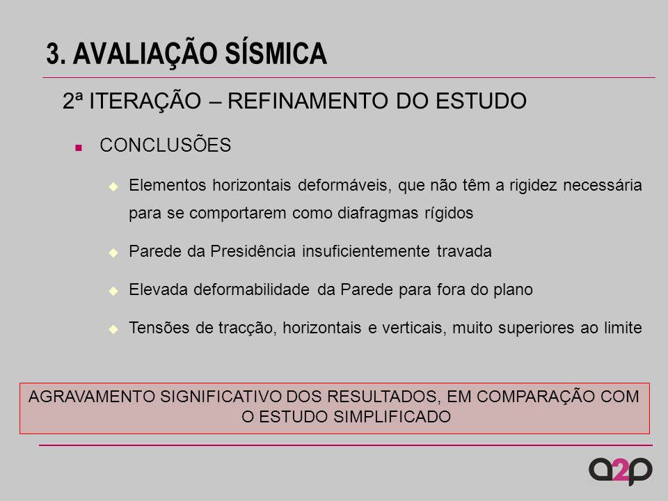 3. AVALIAÇÃO SÍSMICA 2ª ITERAÇÃO – REFINAMENTO DO ESTUDO CONCLUSÕES