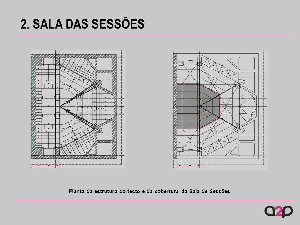 Planta da estrutura do tecto e da cobertura da Sala de Sessões