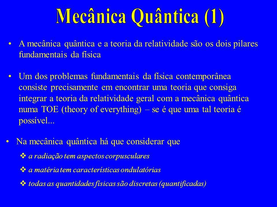 Mecânica Quântica (1) A mecânica quântica e a teoria da relatividade são os dois pilares fundamentais da física.