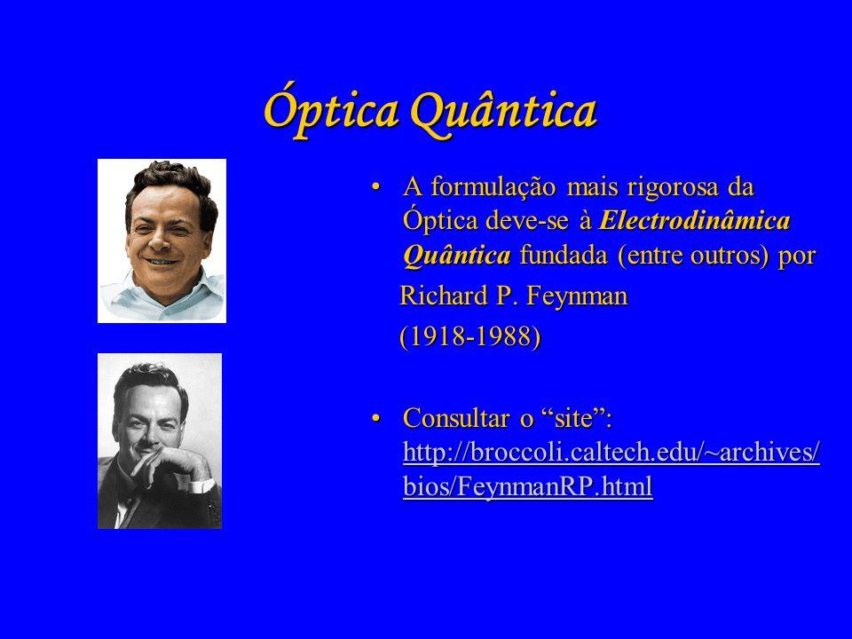 Óptica QuânticaA formulação mais rigorosa da Óptica deve-se à Electrodinâmica Quântica fundada (entre outros) por.
