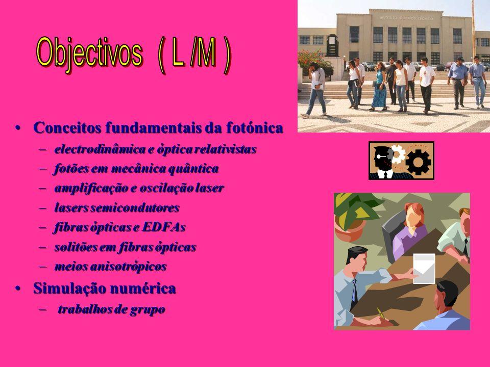 Objectivos ( L /M ) Conceitos fundamentais da fotónica