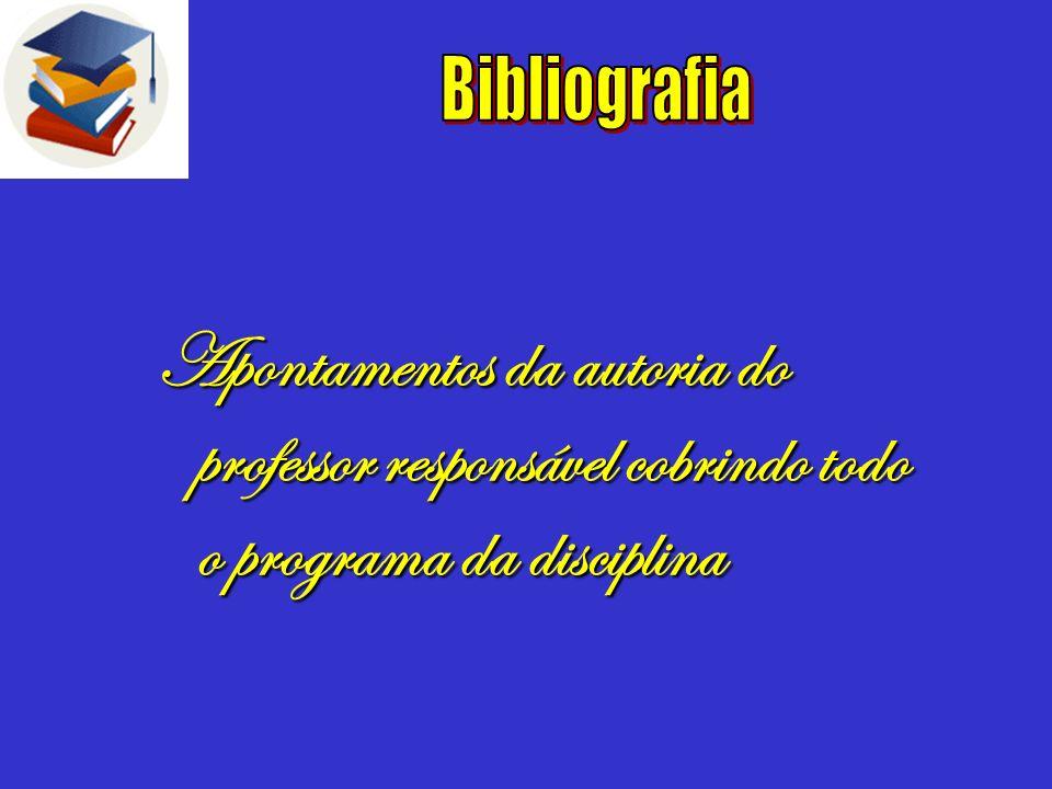 BibliografiaApontamentos da autoria do professor responsável cobrindo todo o programa da disciplina.