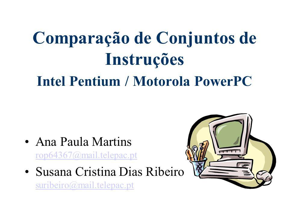 Comparação de Conjuntos de Instruções Intel Pentium / Motorola PowerPC