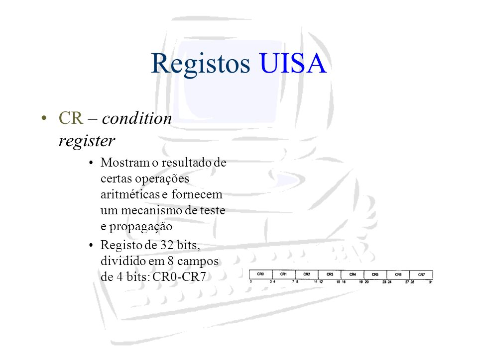 Registos UISA CR – condition register