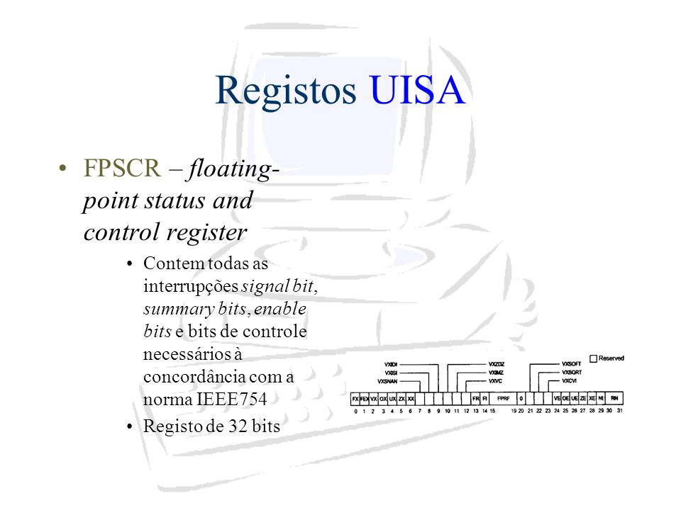 Registos UISA FPSCR – floating-point status and control register