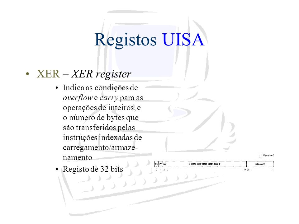 Registos UISA XER – XER register